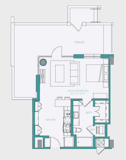 586 sq. ft. S1.6 floor plan