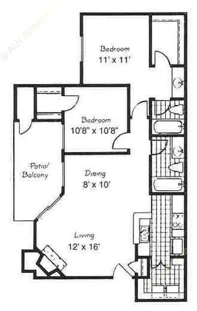 907 sq. ft. C3/BARCELONA floor plan