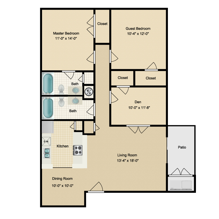1,201 sq. ft. J floor plan