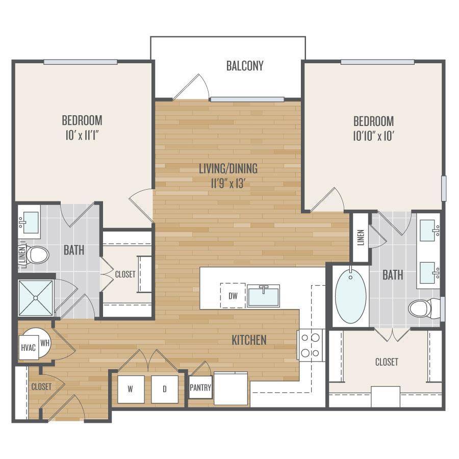 1,008 sq. ft. B1 floor plan