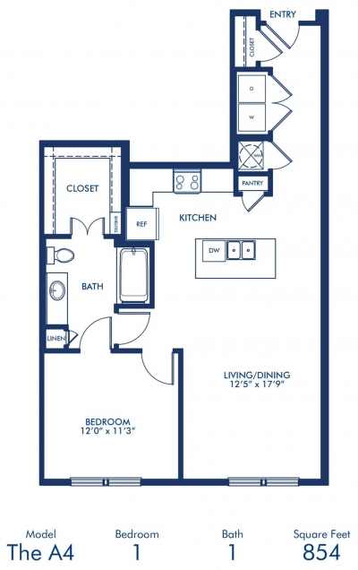 854 sq. ft. A4 floor plan