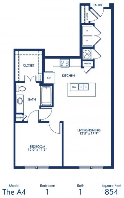 854 sq. ft. A4 floor plan