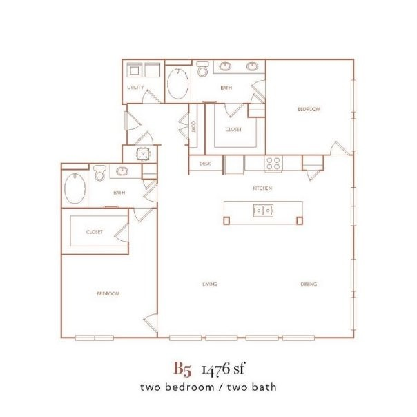 1,476 sq. ft. B5 floor plan