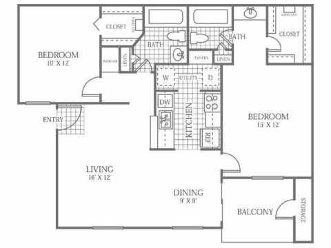 982 sq. ft. D floor plan