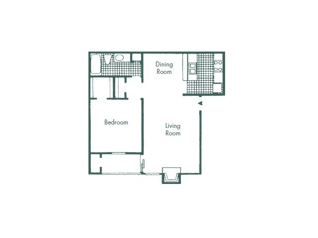 660 sq. ft. A2 floor plan