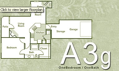 842 sq. ft. A3G floor plan