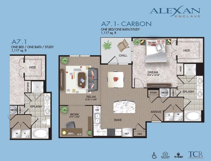 1,117 sq. ft. Carbon floor plan