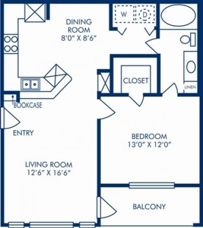 728 sq. ft. E floor plan