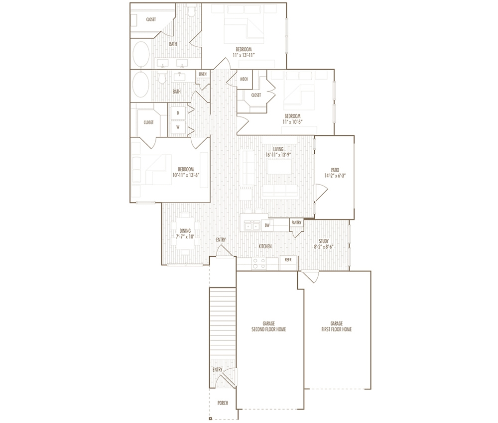 1,409 sq. ft. FG floor plan