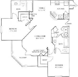 1,137 sq. ft. B2 floor plan