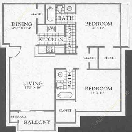 929 sq. ft. Oxford Peak floor plan