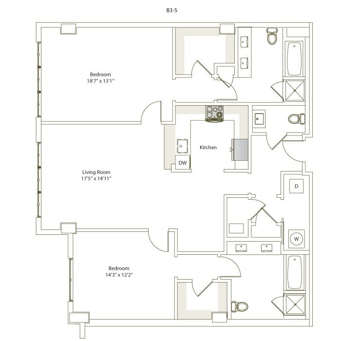 1,466 sq. ft. B3-5 floor plan
