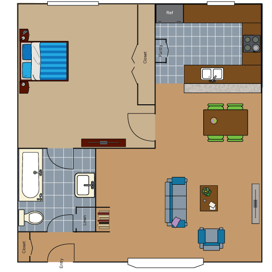 687 sq. ft. A1 floor plan