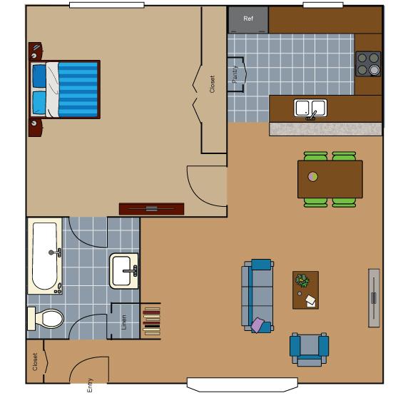 687 sq. ft. A1 floor plan