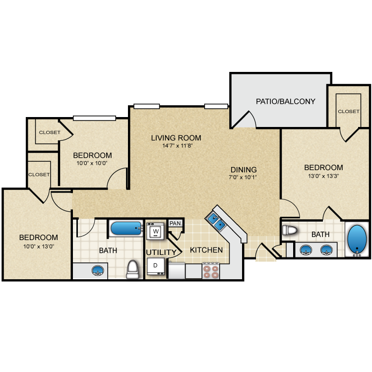 1,343 sq. ft. C2 floor plan