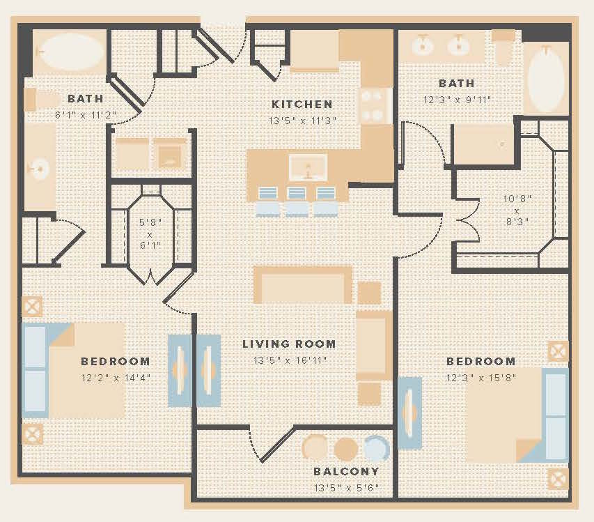 1,154 sq. ft. B1 floor plan