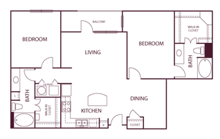 1,230 sq. ft. B5 floor plan