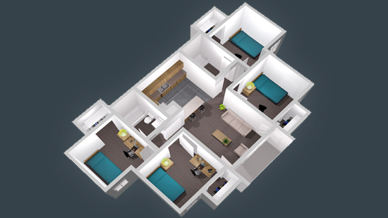 873 sq. ft. floor plan