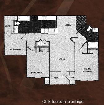1,160 sq. ft. C1/60 floor plan