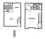 840 sq. ft. B floor plan