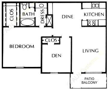 890 sq. ft. floor plan