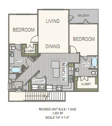 1,331 sq. ft. B3.B1 floor plan