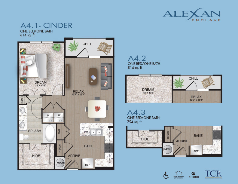 794 sq. ft. A4.3 floor plan