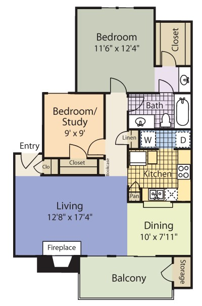 856 sq. ft. Lexington floor plan