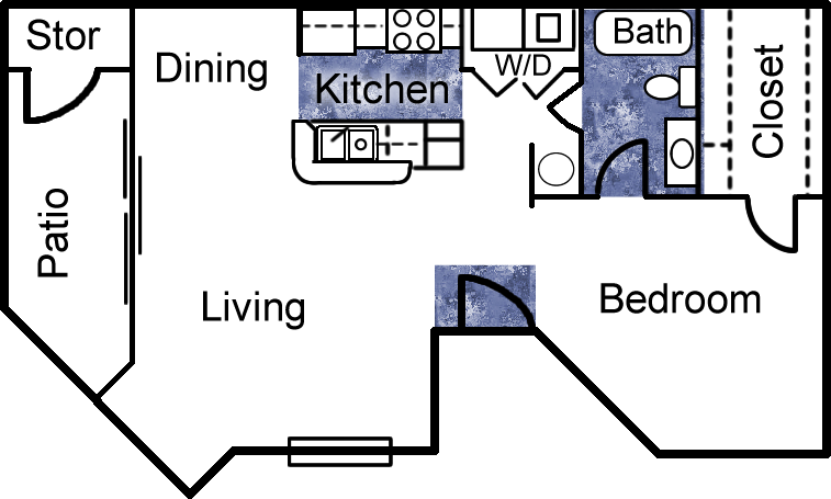 761 sq. ft. floor plan
