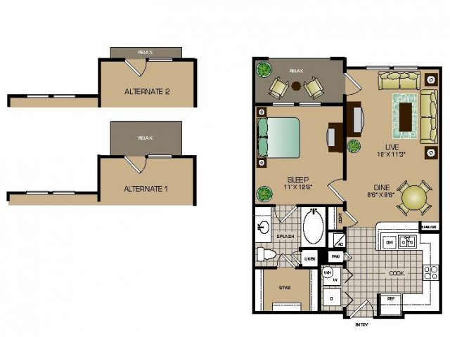 701 sq. ft. A1 floor plan