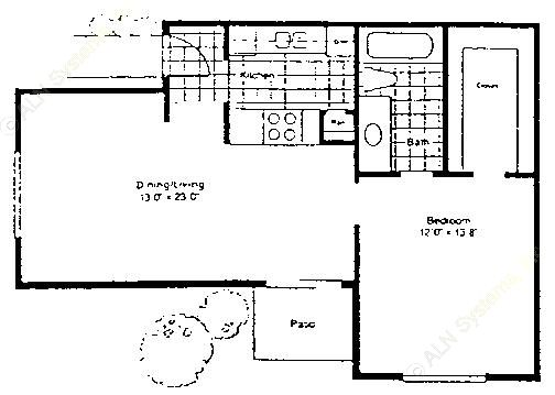691 sq. ft. A-1/60 floor plan