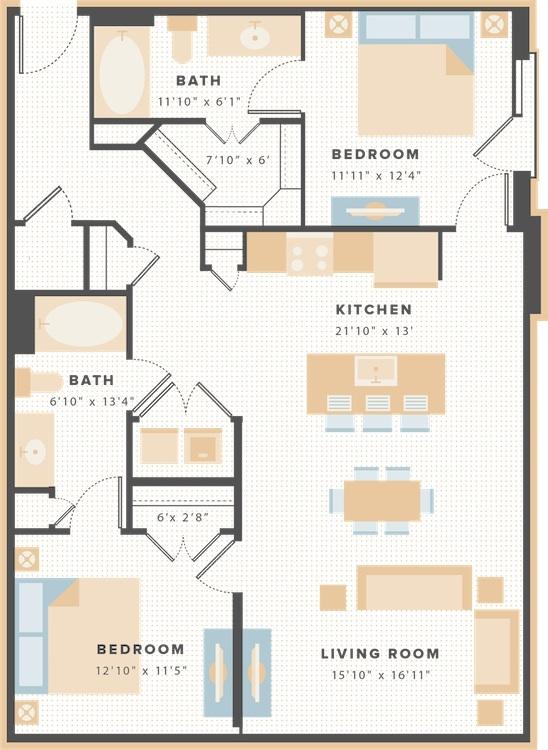 1,150 sq. ft. B3b floor plan