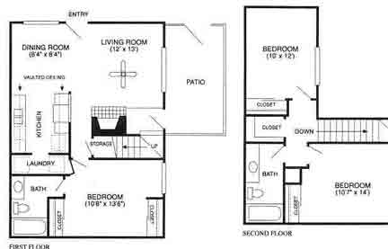 1,155 sq. ft. Cresthaven/C2TH floor plan