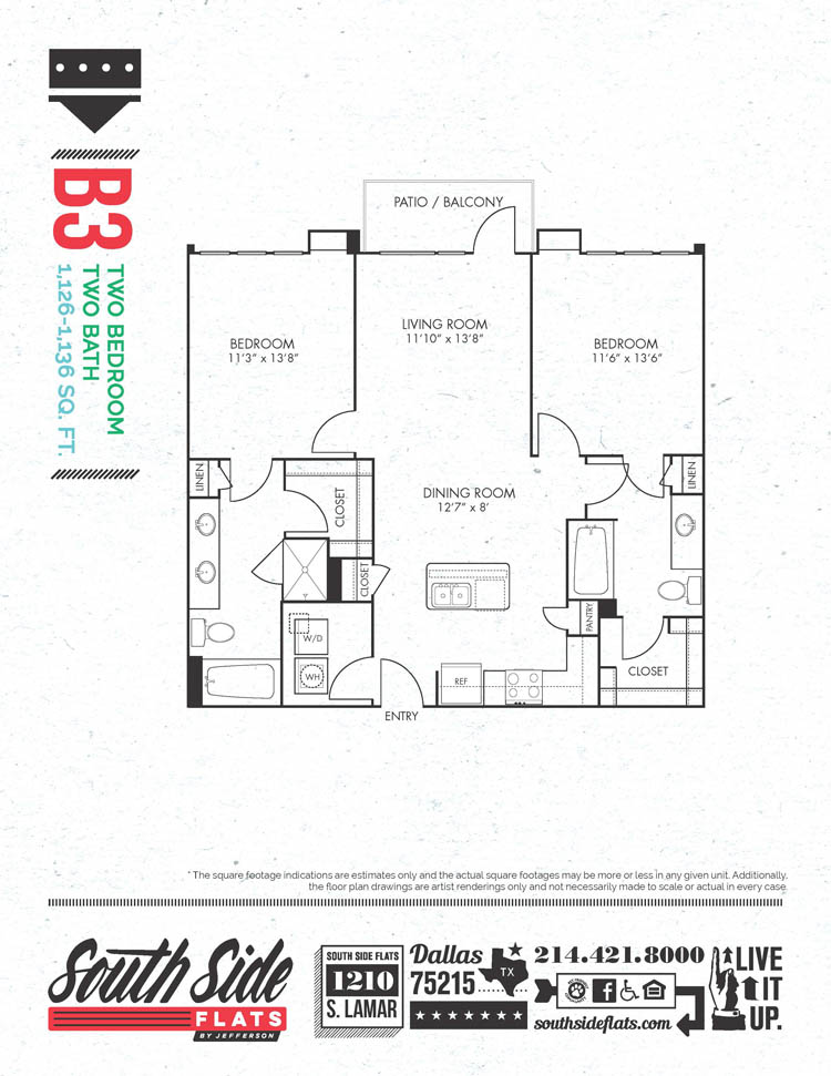 1,126 sq. ft. to 1,136 sq. ft. B3 floor plan