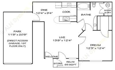 740 sq. ft. A1G floor plan