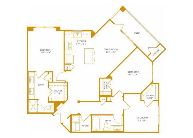1,282 sq. ft. C1A floor plan
