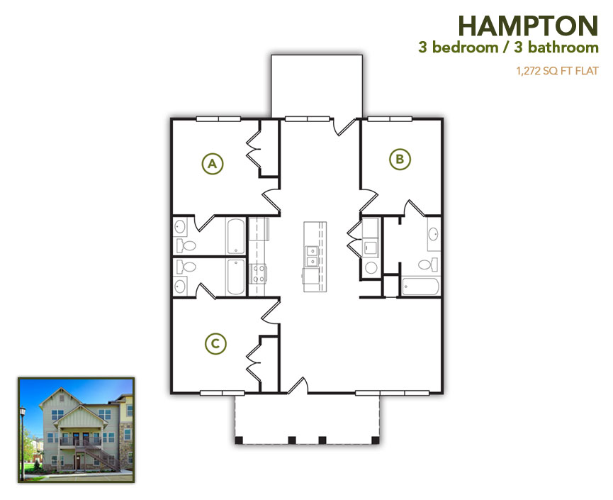 1,272 sq. ft. Hampton Row floor plan