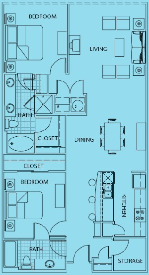 1,431 sq. ft. to 1,486 sq. ft. Bellagio floor plan