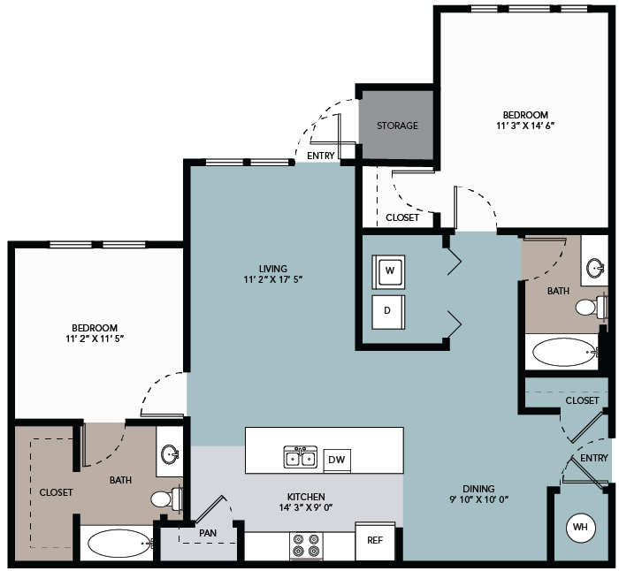 1,124 sq. ft. 2A floor plan