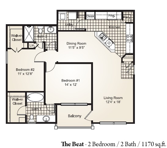 1,170 sq. ft. BEAT floor plan