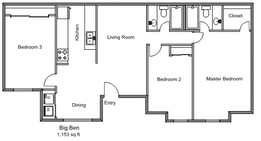 1,153 sq. ft. C1 floor plan