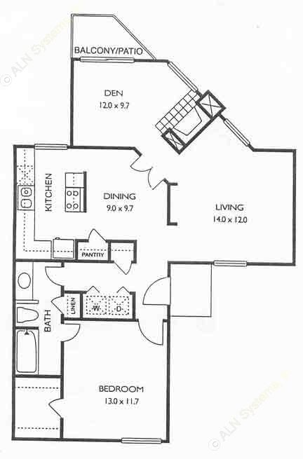 900 sq. ft. Danbury floor plan