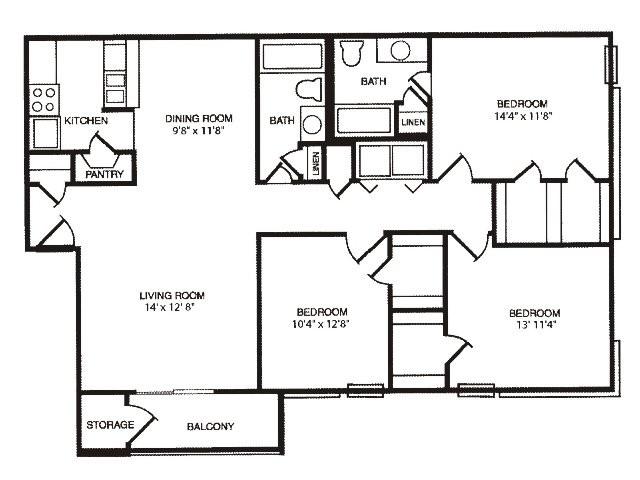 1,243 sq. ft. floor plan
