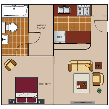 470 sq. ft. E2 floor plan