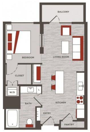 633 sq. ft. LW floor plan