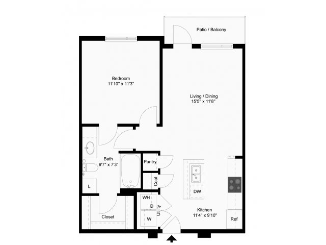 664 sq. ft. Doppler floor plan