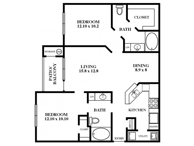 1,138 sq. ft. Scarlet Oak floor plan