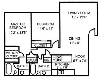 988 sq. ft. Tower floor plan