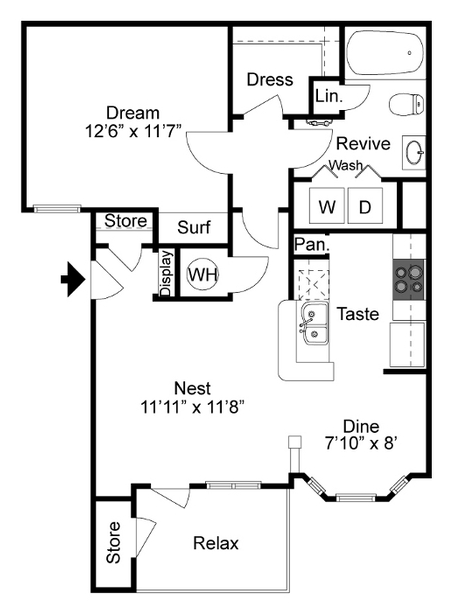 689 sq. ft. II-A floor plan