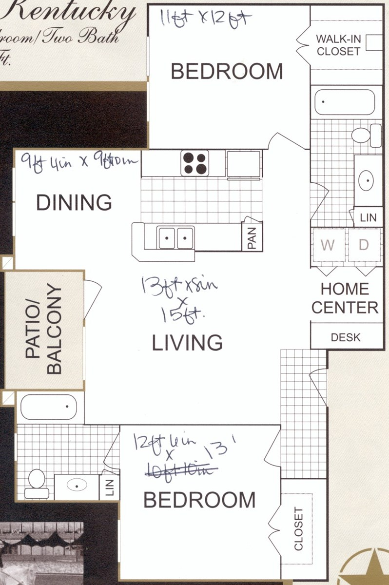 995 sq. ft. B1 floor plan